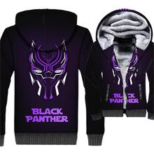 Black Panther Jacket 3D Print Hoodie Men Killmonger Hooded Sweatshirt Winter Thick Fleece Warm Zip up Movie Coat Brand Clothing