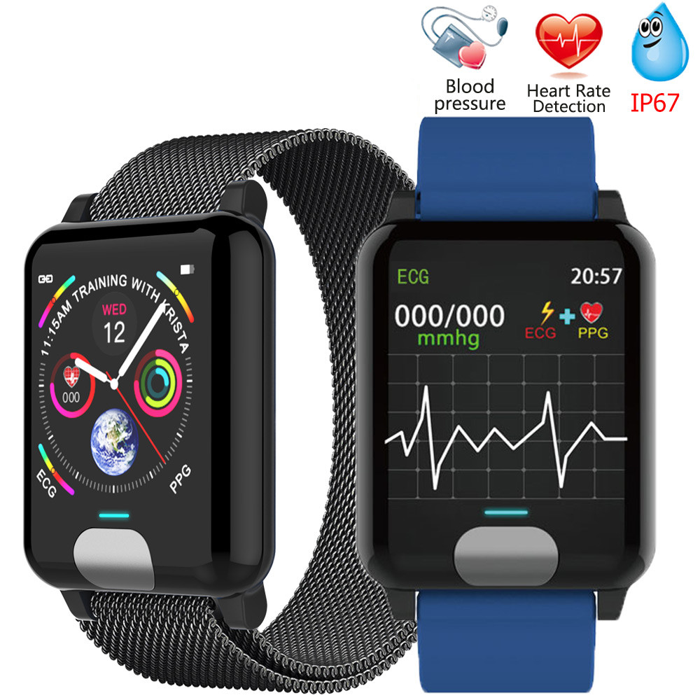 Smart Bracelet ECG PPG Blood Pressure Measurement Watch Women Heart Rate Monitor Fitness Band With Activity Tracker