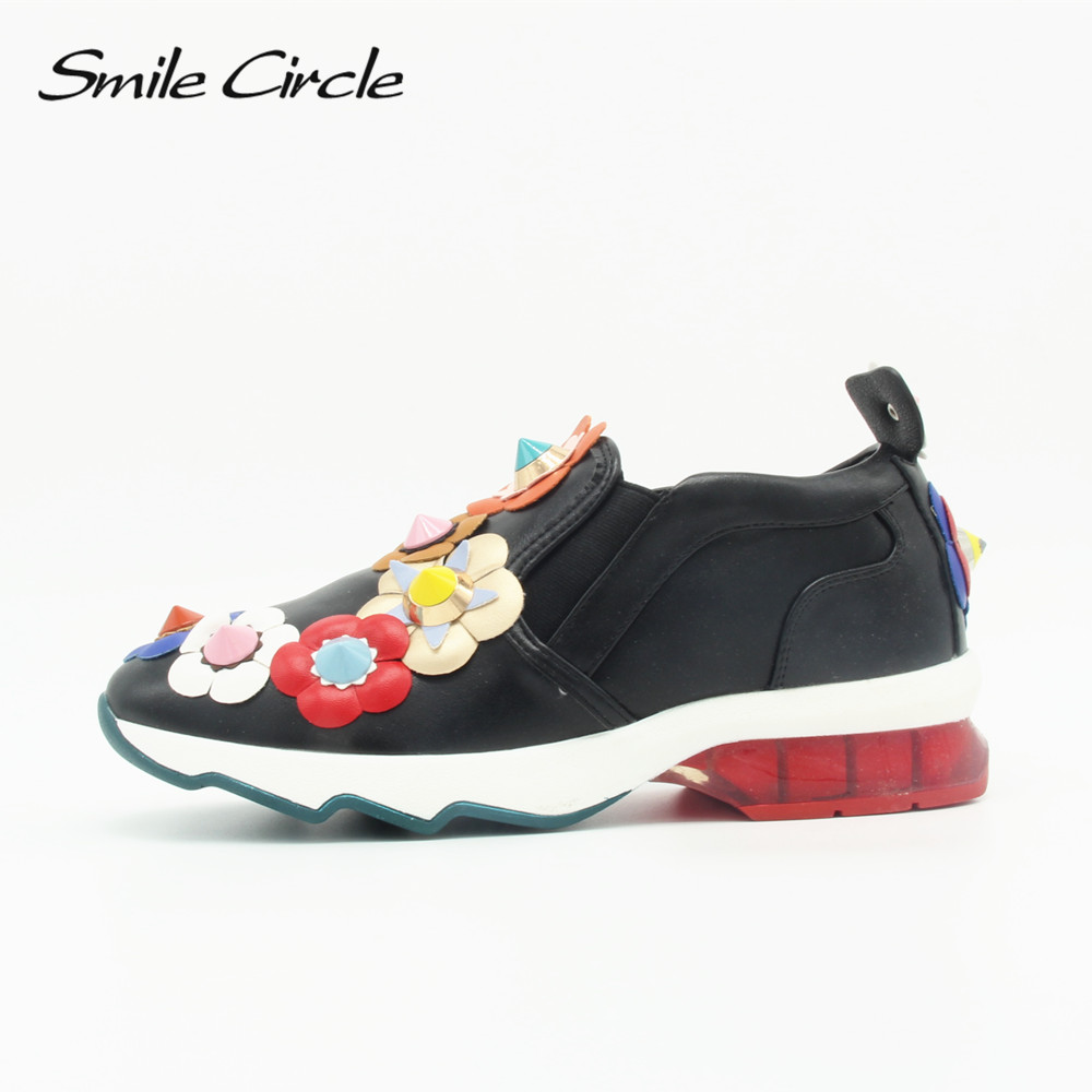 Smile Circle Brand Shoes 2017 Autumn Designers Shoes For Women Comfortably Flowers Flats Shoes Women s