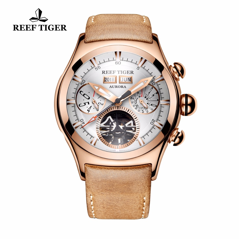 Reef Tiger/RT Brand Mechanical Watches for Men Rose Gold Automatic Analog Watches Tourbillon Calendar Luminous Watches RGA7503