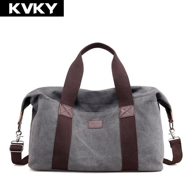 bc5584f9cebe KVKY Men Canvas Handbags Travel Shoulder Bag Large Capacity Solid Casual Crossbody  Bag Vintage Men Messenger Bag Male Tote Bolsa