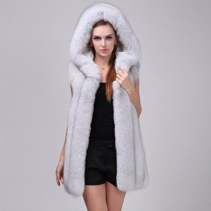 LIYAFUR mujer 100% auténtico completo Pelt piel de zorro largo chaleco con capucha sin mangas Gilet por encargo