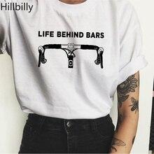 Hillbilly CMK125 Life Behind Bars Lovely Bicycle Front Tshirts Cotton Cool Girl 80s 90s Harajuku Casual T-shirts Women Shirts
