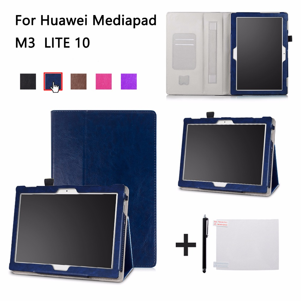 cover case for 10.1'' Huawei MediaPad M3 Lite 10 protective cover skin case with hand holder for BAH-W09 BAH-AL00 10 tablet case cowhide for huawei mediapad m3 lite 10 covers protective leather m3 youth edition bah w09 al00 tablet cases genuine sleeve