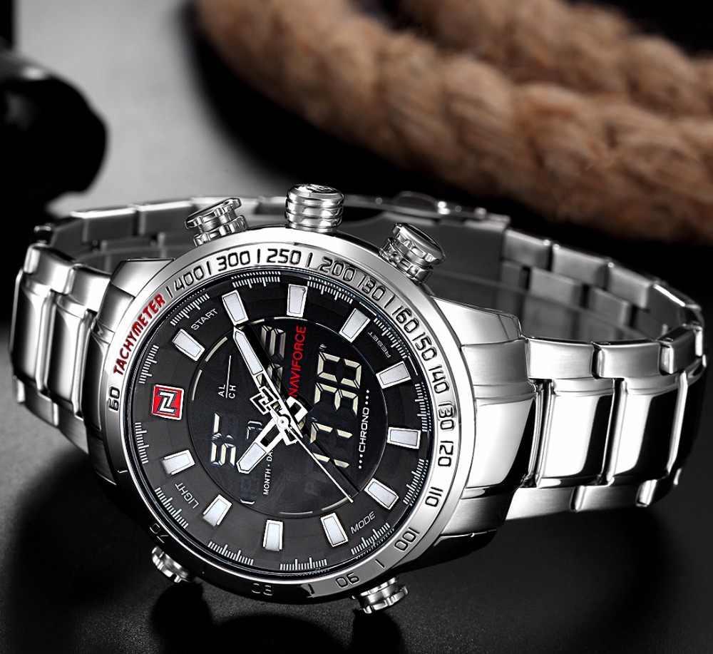 Naviforce relógio analógico de quartzo dos homens de luxo moda esporte relógio de pulso à prova dstainless água inoxidável masculino relógios relógio relogio masculino