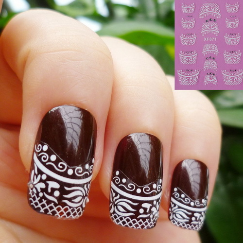 Water Transfer Nails Art Sticker Beautiful 3D French style Crystal design girl and women manicure tools Nail Wraps Decals XF871 dashing diva virtual nails french