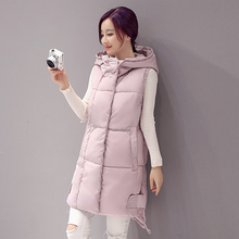 купить Swenearo New Brand women vest Winter jacket Hooded Thicken Warm Long Casual Cotton Padded Waistcoat female Sleeveless waistcoat онлайн