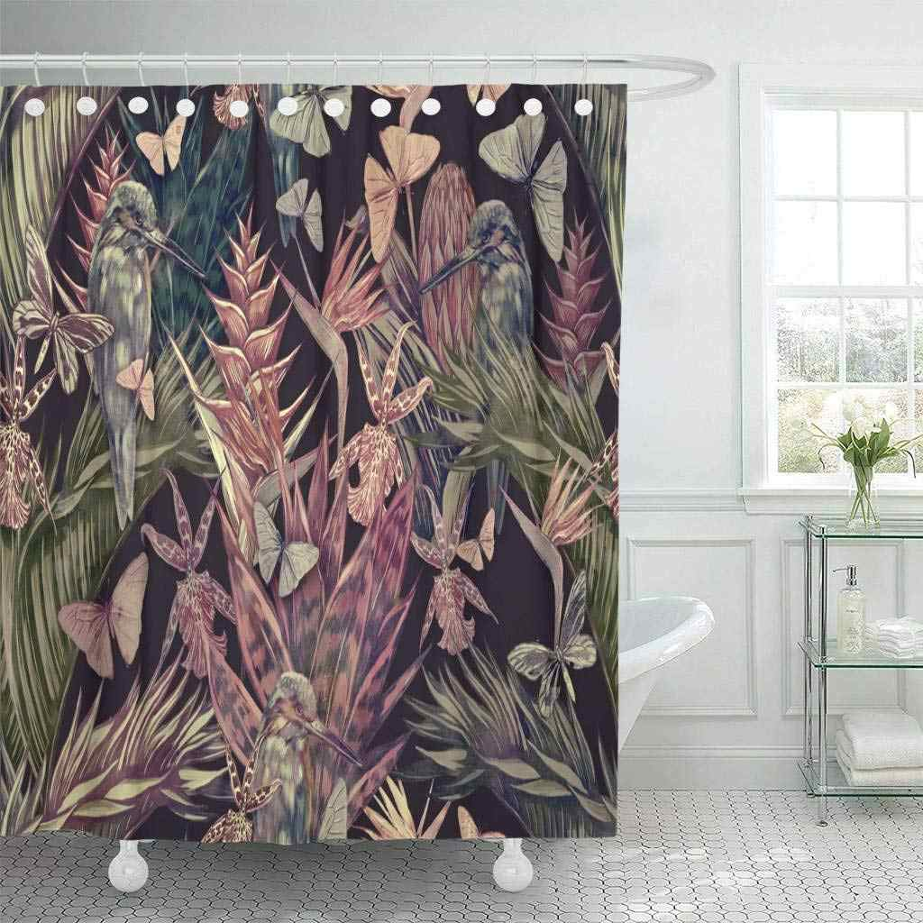 Shower Curtain with Hooks Beautiful Vintage Floral Tropical Palm Leaves Trees Flowers Jungle Leaf Plants Cactus Bathroom