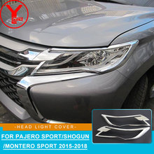 2016-2017 HEAD light cover For MITSUBISHI PAJERO SPORT chrome accessories head lamp 2016 YCSUNZ