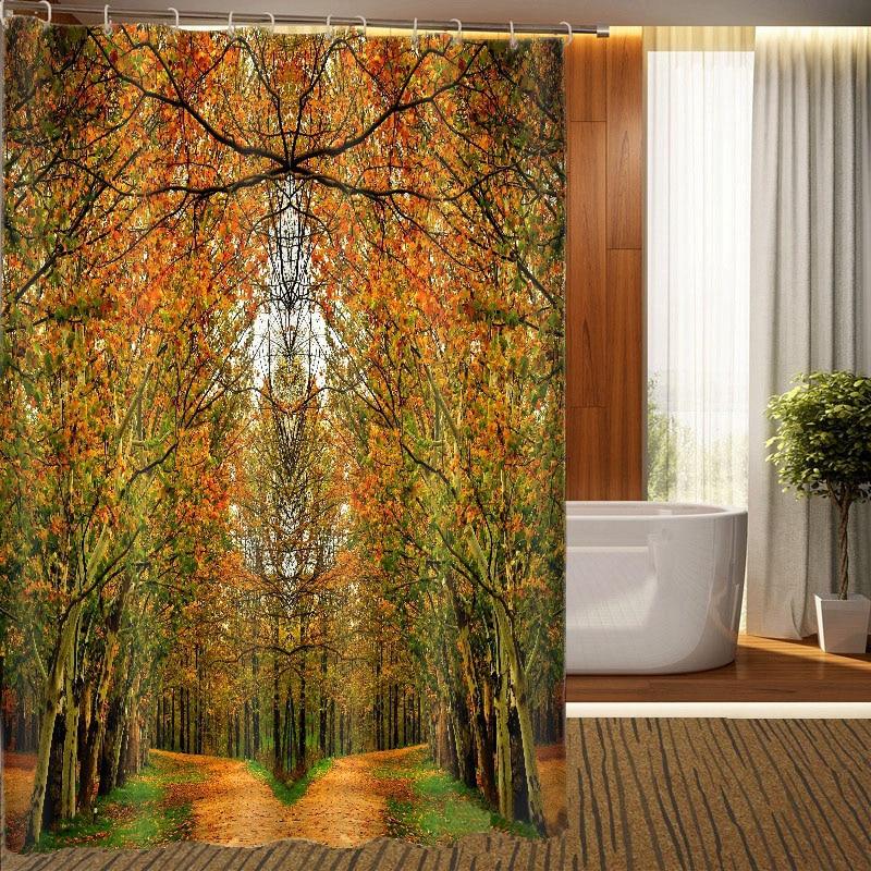 MYRU 3D Print Waterproof Woods Shower Curtains Bath