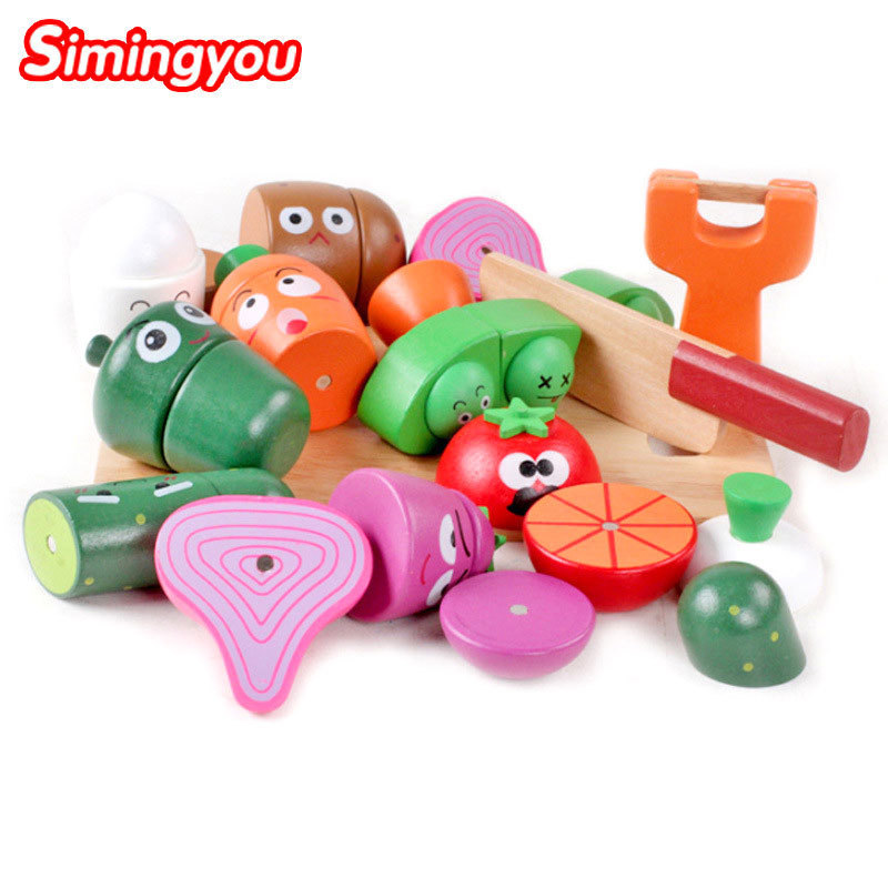 Simingyou Colorful Miniature Food Cut Vegetables Toy Wooden Fruit Food Toys For Girls Kitchen For Kids B40-G655 Drop Shipping mother garden high quality wood toy wind story green tea wooden kitchen toys set