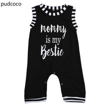 5b27f0cc7a5 Cute Newborn Kids Boy Sleeveless Letters Rompers Infant Bbay Girls Black  Mommy Vest Rompers Outfits Jumpsuit Clothes Summer