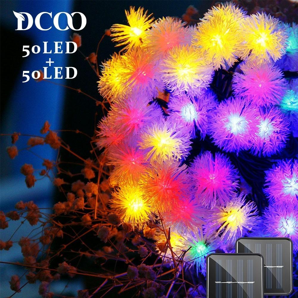 Solar Powered String Lights Chuzzle Ball Fairy Christmas Lighting Decor Bedroom Wedding Decorations 50LED 2-Pack