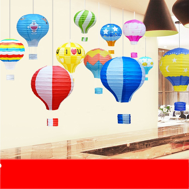White +Light pink Joinwin 12 Inch Hanging Wedding Rainbow Hot Air Balloon Paper Lantern Party Decorations Pack of 5 Pieces