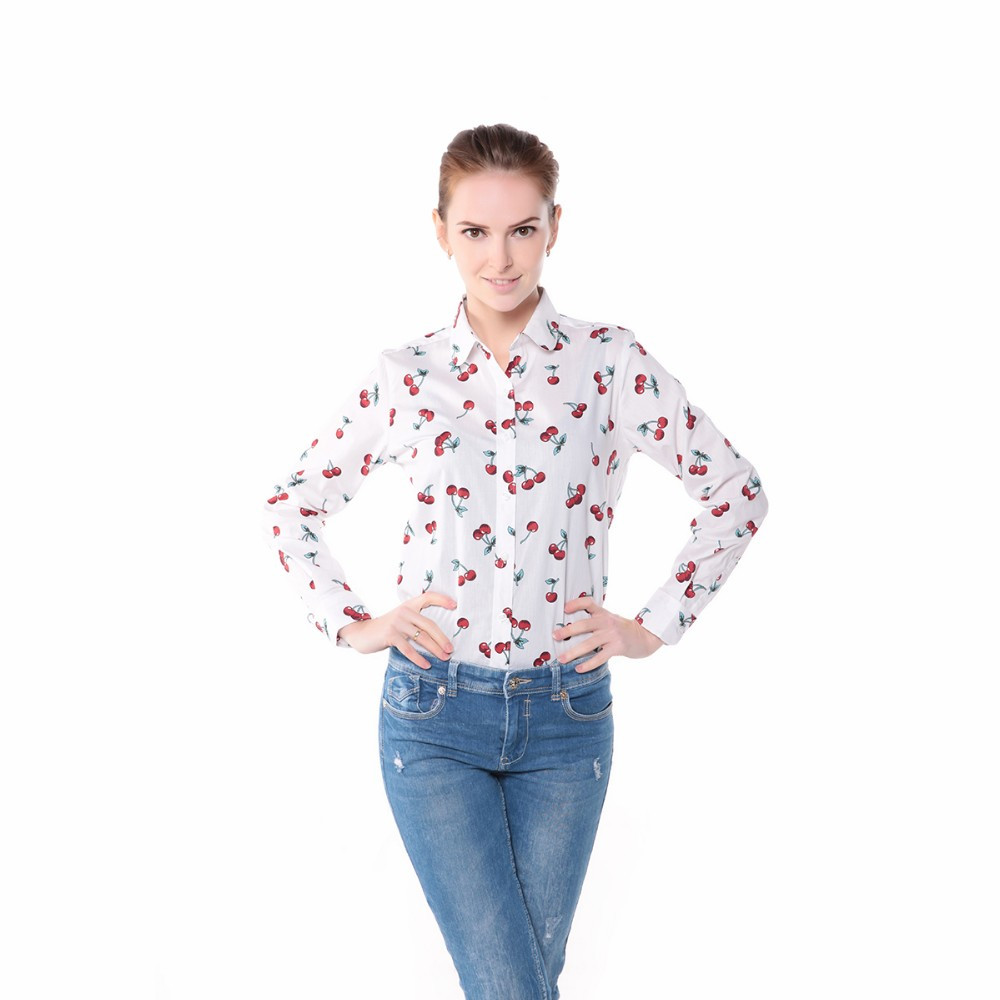 Dioufond Women Cherry Blouses Long Sleeve Shirt Turn Down Collar Floral Blouse Plus Size 5XL Women Vintage Cotton Shirt 7