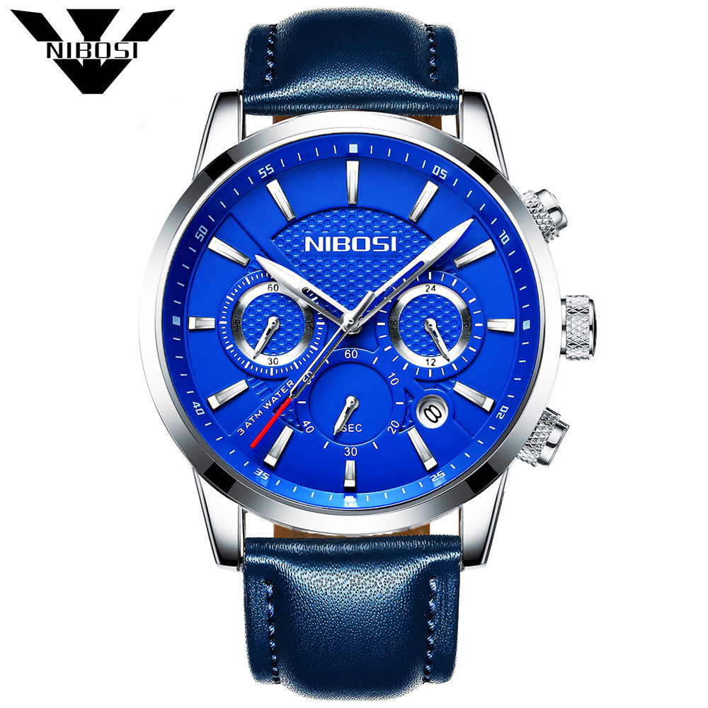 NIBOSI Mens Watches Fashion Casual Sport Blue Leather Watch Male Clock Man Army Military Quartz Wristwatch Relogio Masculino mens watches naviforce fashion casual sport male watch dual display clock man army military quartz wristwatch relogio masculino