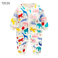 TZCZX 2620 New Children Baby Girls Boys Rompers Novelty Cartoon Printed Jumpsuit For 6 To 18