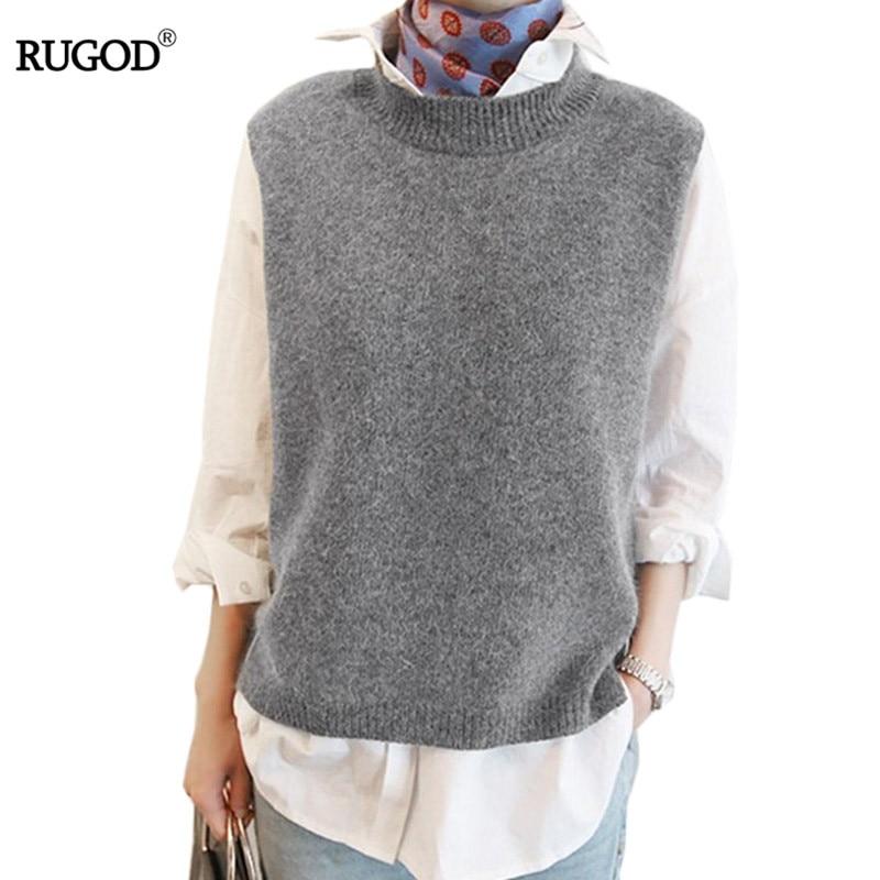 RUGOD 2018 mujeres Otoño Invierno Casual suelta lana suéter chaleco sin mangas cuello redondo tejido Cachemira chalecos mujer puente gris tops