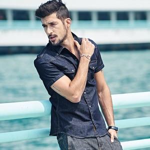 Image 2 - KUEGOU Summer Mens Fashion Denim Shirts Blue Color Pockets Brand Clothing Mans Wear Short Sleeve Slim Fit Jeans Clothes 15502