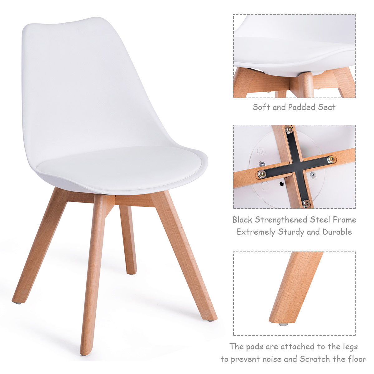 Giantex Set Of 4pcs Mid Century Modern Style Dining Side Chair Upholstered Seat Wood Legs White Chairs Hw57081 In From Furniture On
