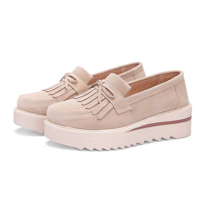 Plardin ใหม่ผู้หญิงรองเท้า Loafers รองเท้าผ้าใบของแท้หนังแบนแพลตฟอร์ม fringe รองเท้าแตะหญิงแฟชั่นรองเท้าผู้หญิง