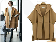 5xl women's clothing Suit-dress Cloak Woolen Loose Coat Winter Clothes Woollen Overcoat Overcoat Fat Mm Long Windbreaker  jacket