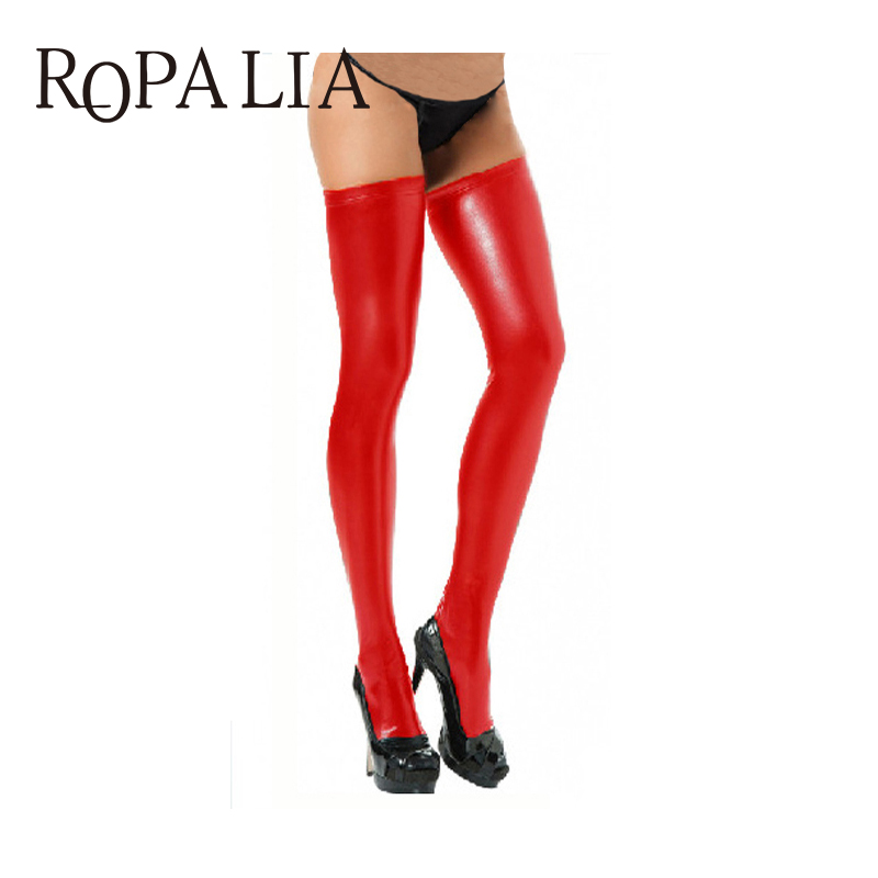 Sexy Women Stockings Spandex Thigh High Women Black Red Solid Color Latex Catsuit Stockings