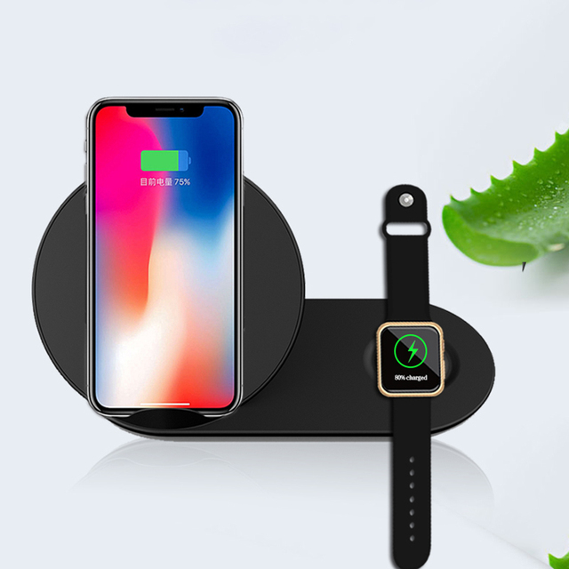 factory authentic a91d0 4d937 US $17.94 29% OFF 2 in 1 Charging Dock Station Bracket Cradle Stand Holder  Wireless Charger For iPhone XS MAX XR X 8 For Apple Watch 1 2 3 Charger-in  ...