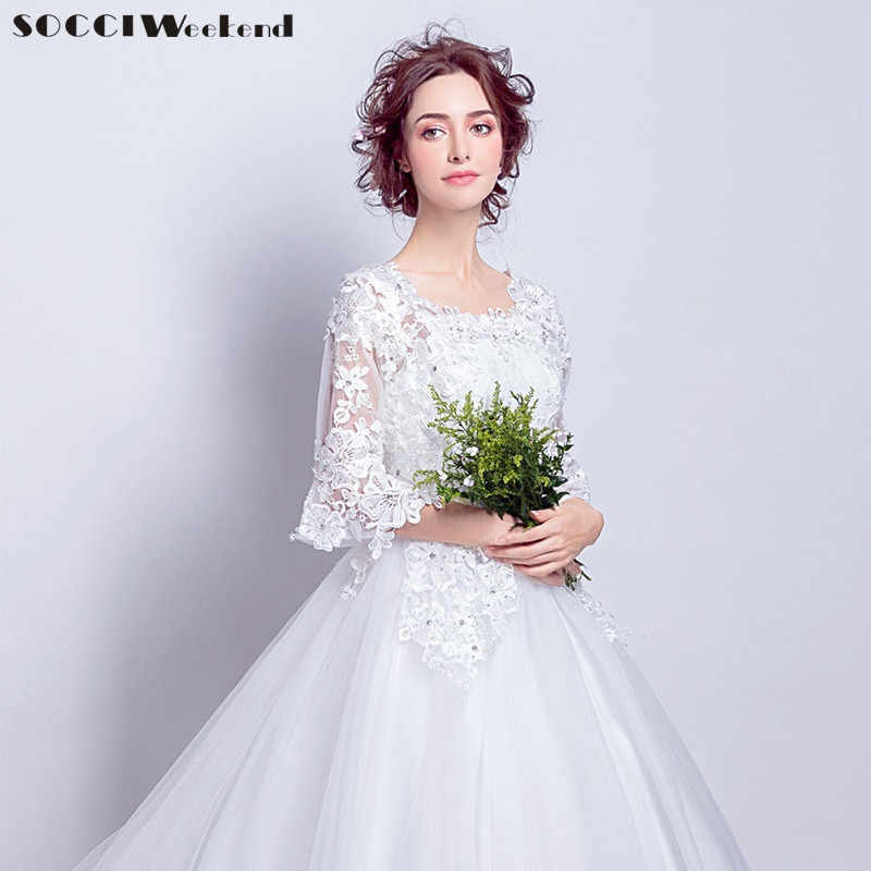 54a1d5850eac9 SOCCI Weekend Snow White Wedding Dress 2019 Ivory Marriage Dresses half  Flare sleeves Women Long train