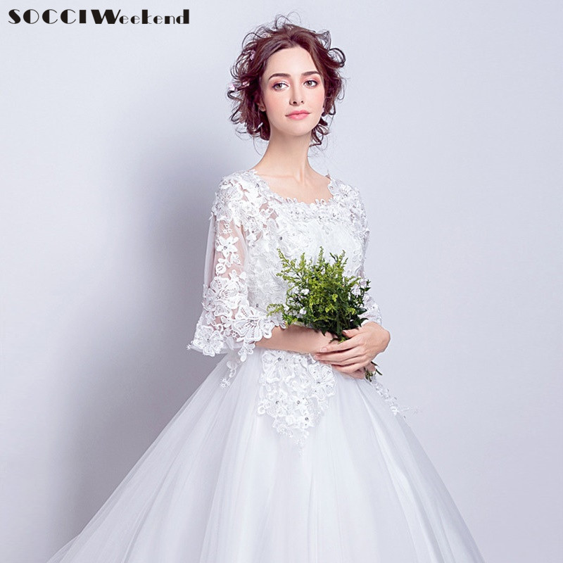 SOCCI Weekend Snow White Wedding Dress 2018 Ivory Marriage Dresses half Flare sleeves Women Long train China Cheap Wedding Gowns
