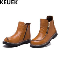 NEW Winter Leather Boots Children Ankle Boots Boys Girls Genuine Leather Thick Plush Non Slip Snow