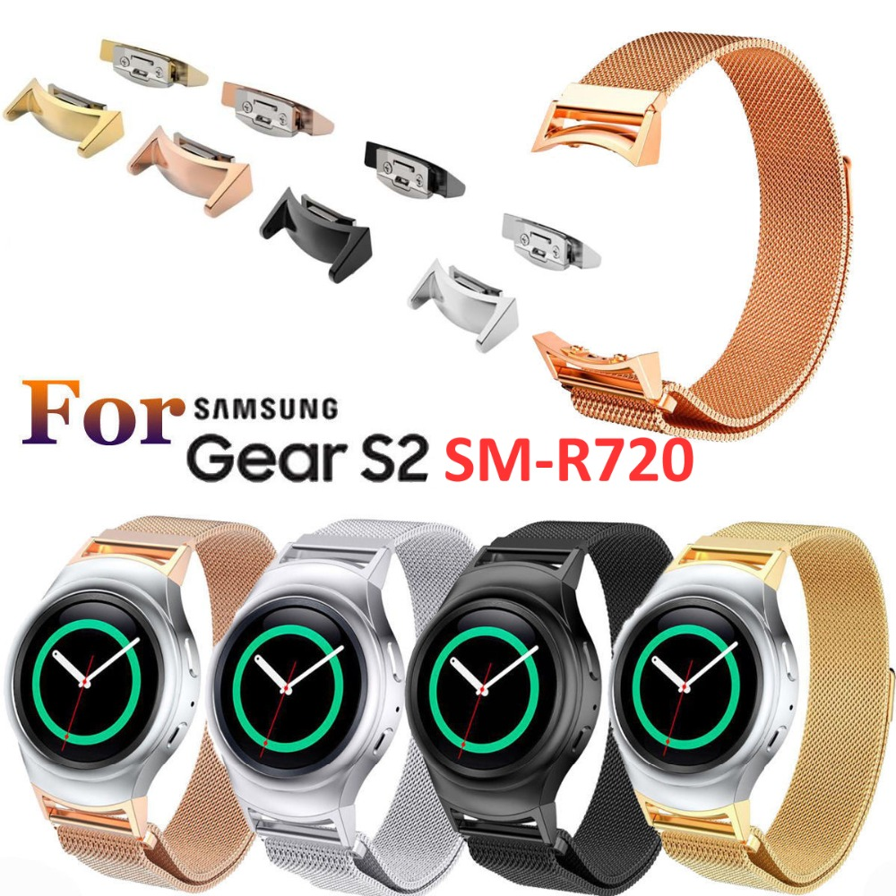 Milanese Loop Sport Band For Samsung Gear S2 SM-R720 Stainless Steel Magnetic Milanese Replacement Sport Strap With Connector