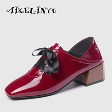 AIKELINYU 2019 Fashion Genuine Leather Cowhide Women Heels Shoes Autumn Girls Low Heel Shoes Square Toe Office Work Shoes Woman showfun genuine leather shoes woman grit cowhide solid square heels boots