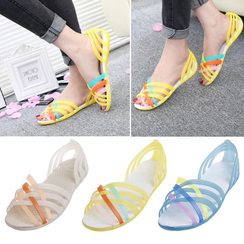 New 2018 Summer Flat Fish Mouth Sandals Anti-slip Rainbow Mixed Color Jelly Shoes Women