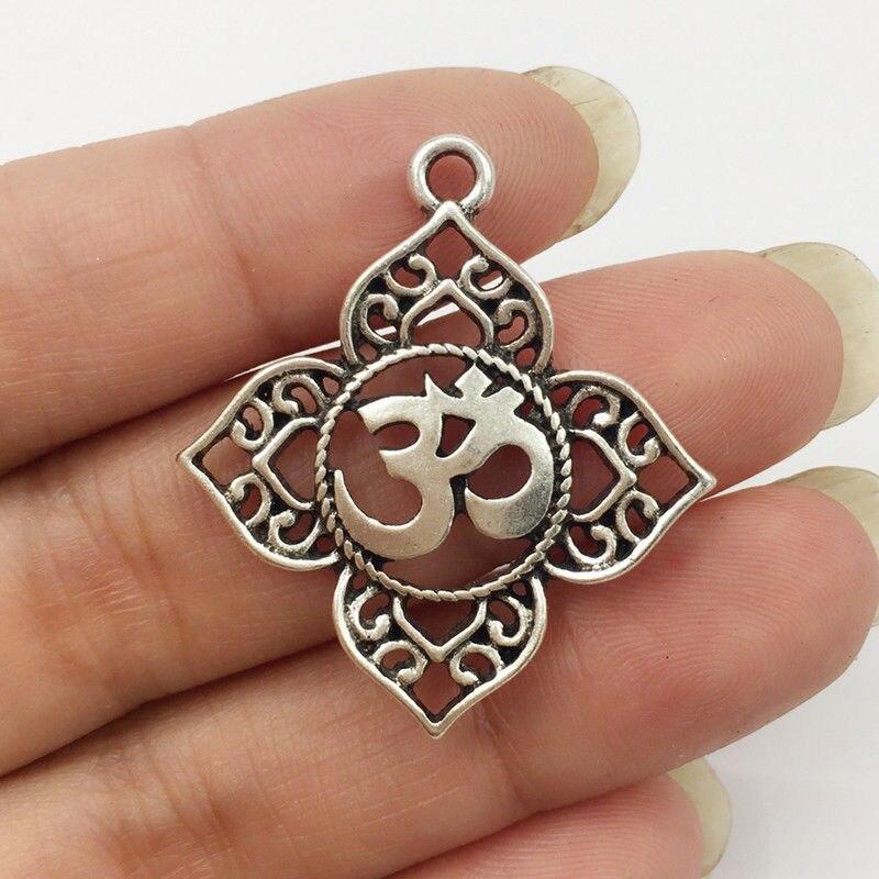 10 Stücke Filigrane Ohm Om Aum Buddha Lotus Silber Anhänger Charme, Buddhistischen, Yoga Charme Anhänger