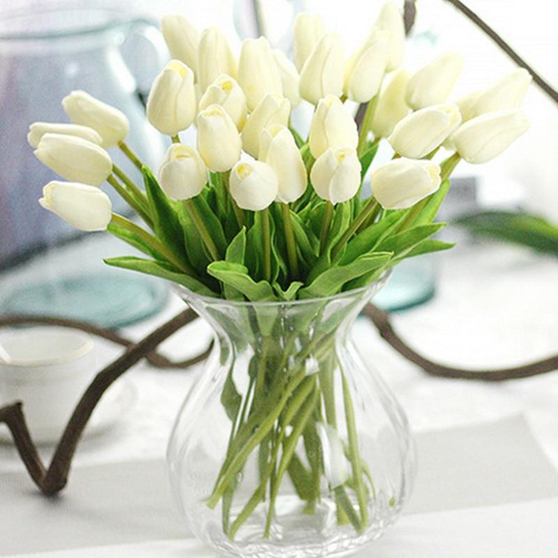 31 pçs/lote Tulipas Flores Artificiais Calla PU Falso Flores Real toque de flores para Decoração de Casamento Casa Decoração Do Partido