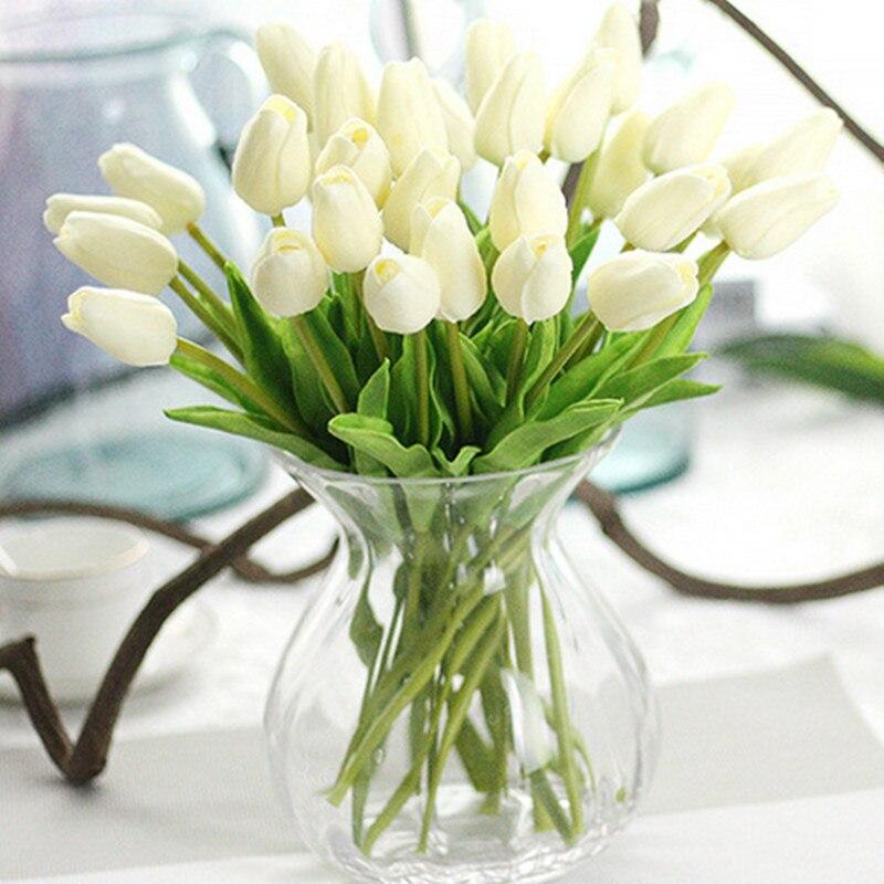 31 sztuk/partia tulipany sztuczne kwiaty PU Calla fałszywe kwiaty prawdziwy dotyk kwiaty do dekoracji ślubnych strona dekoracji domu