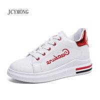 JCYMONG 2018 New Women Sneaker Lace Up Height Increasing Women Casual Shoes Wedge Heel Graffiti Platform