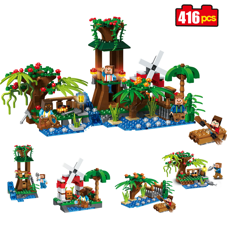 416pcs 4in1 my World Series Pavilion windmill Model Building Blocks Kit Castle Children Toys Minecrafted brick toys for children