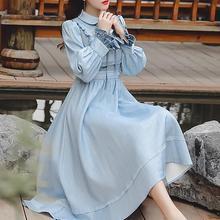 Высокое качество,, Ретро стиль, Осень-зима, Новое поступление, воротник Питер Пэн, бант, Цветочная вышивка, женское длинное платье небесно-голубого цвета