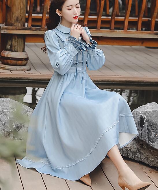 Haute qualité Best-seller rétro automne hiver nouveauté col claudine noeud papillon fleur broderie femme longue robe bleu ciel