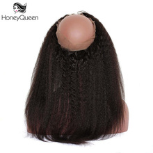 Honey Queen 360 Lace Frontal Closure Kinky Straight Pre Plucked Brazilian Remy Human Hair Bleached Knots