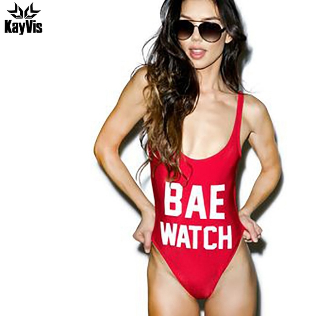 KayVis BAE WATCH Swimsuit Bodysuit One Piece Swimwear Women Red Monokini Rompers Womens Jumpsuit Costume Sexy One Piece Swimsuit