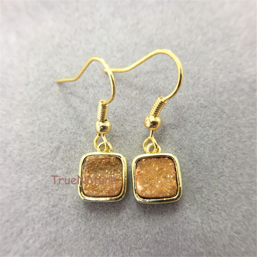 Fashion Earring Jewelry Agates Druzy Charm Gold Plating Square Earring  Copper Drop Earring In 9x9mm Er5144