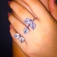 Koperen basis AAA zirconia pave instelling blad vormige twee vinger open ring voor vrouwen mode-accessoires