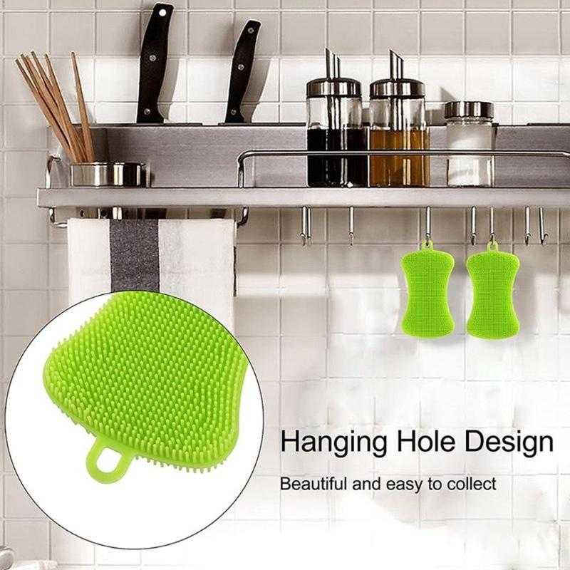 Image 5 - 4pcs Silicone Dish/Pot/Plate Washing Antibacterial Mildew Free  Brush Kitchen Household Cleaner Sponge ScrubberCleaning Brushes   -
