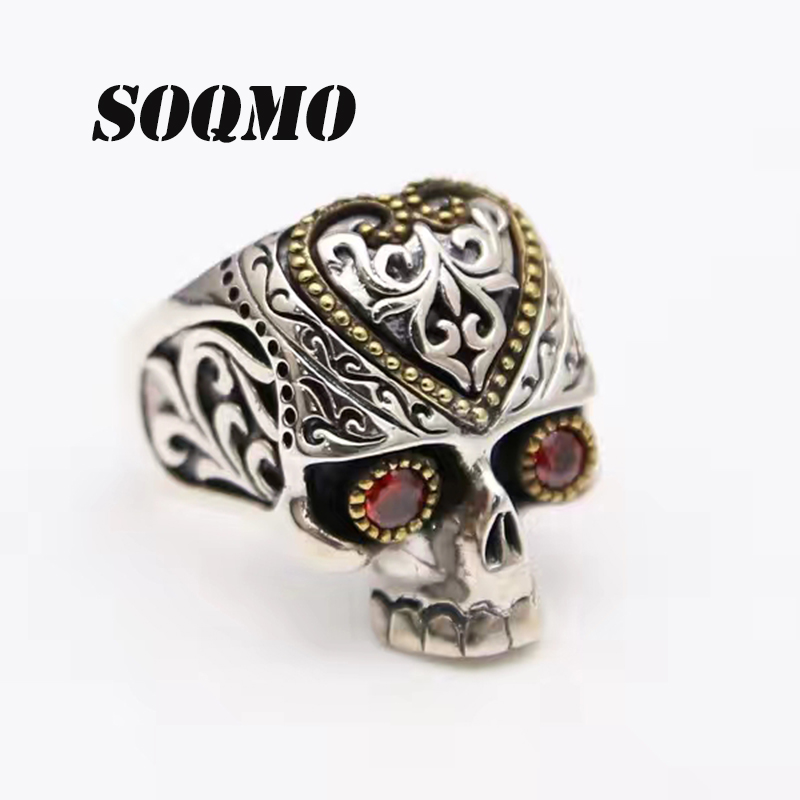 SOQMO Men Women Animal Ring 100% Real 925 sterling silver Vintage Skull Red Stone Eye engagement finger ring fine jewelry SQM007 bestlybuy vintage ring 100% real 925 sterling silver classic cross natural stone adjustable joint ring women men jewelry