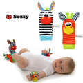 TOP 2pcs/set Wrist 15*3.5cm Rattle Foot Socks 14*6.5cm Multicolor Infant Baby Toy 0+ months Plush Newborn Bed Baby Rattles Soft