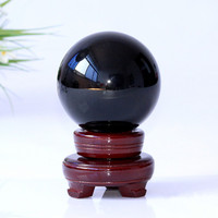 100mm Black Color Crystal Ball Decorative Glass Ball Feng Shui Globe For Ornaments Gifts Home Decoration Accessories