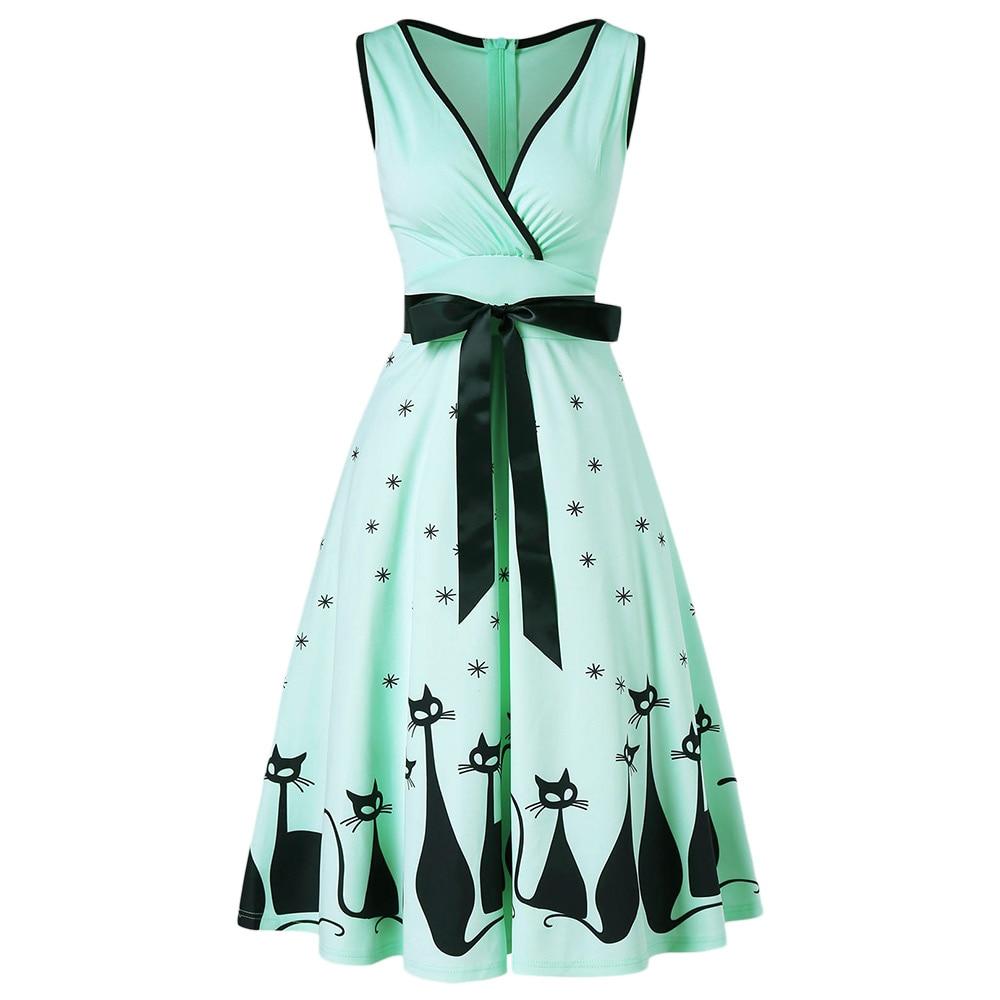 Wipalo V Neck kot drukuj Midi komża sukienka 1950 s Retro